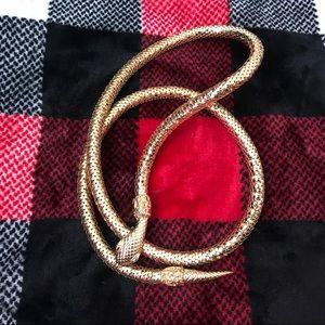 Whiting & Davis Gold Tone Scale Snake Belt